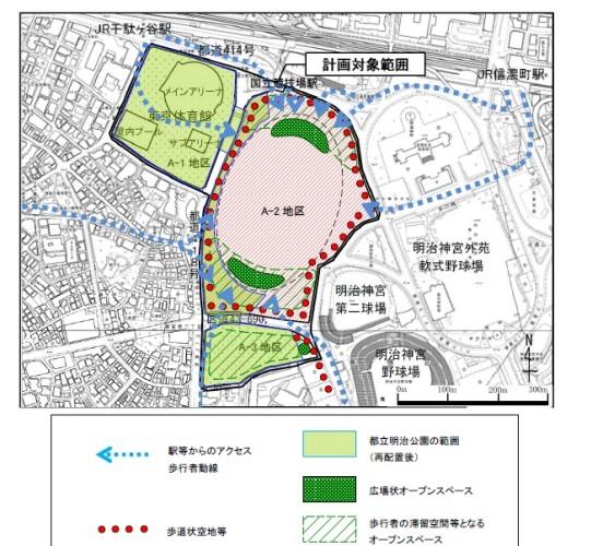 「歩行者の滞留空間となるオープンスペース」と位置付けられている「A-3地区」に都営霞ヶ丘アパートがある。